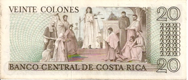 Banco Central De Costa Rica  20 Colones  1963-1970 Issue Dimensions: 200 X 100, Type: JPEG