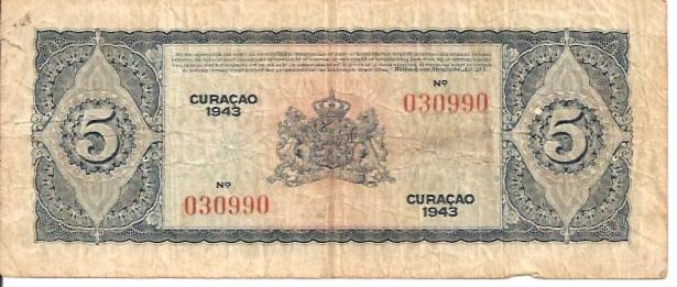 De Curacaosche Bank 5 Gulden 1943 Issue Dimensions: 200 x 100 Type: JPEG