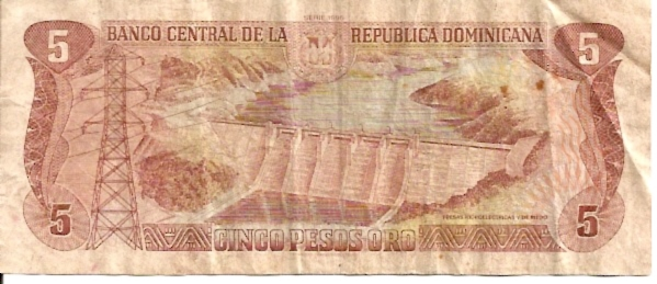 Banco Central DE LA Dominica Republic  5 Pesos  1975 ND Issue Dimensions: 200 X 100, Type: JPEG