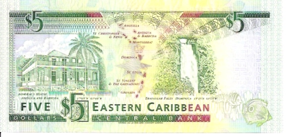 East Caribbean Currency Authority  5 Dollars  1994 ND Issue  Dominica Dimensions: 200 X 100, Type: JPEG