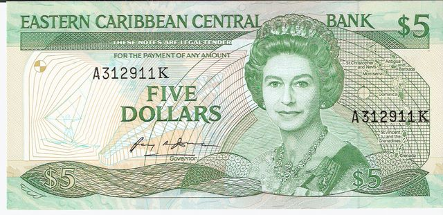 East Caribbean Currency Authority  5 Dollars  1994 ND Issue  St. Kitty Dimensions: 200 X 100, Type: JPEG