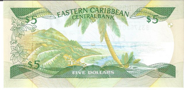 East Caribbean Currency Authority  5 Dollars  1994 ND Issue  St. Lucia Dimensions: 200 X 100, Type: JPEG