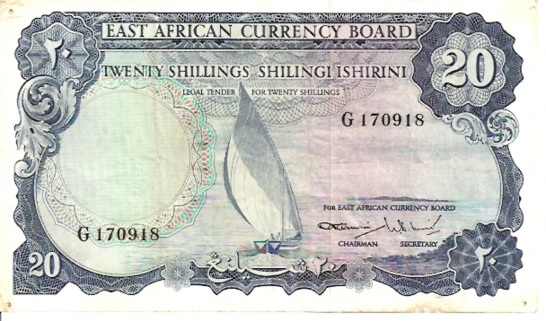 East African Currency Boad  20 Schilling   1961 ND Issue Dimensions: 200 X 100, Type: JPEG