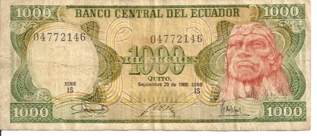 Banco Central Del Ecuador  1000 Sucres  1961 Issue Dimensions: 200 X 100, Type: JPEG