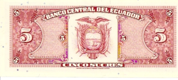 Banco Central Del Ecuador  5 Sucres  1961 Issue Dimensions: 200 X 100, Type: JPEG