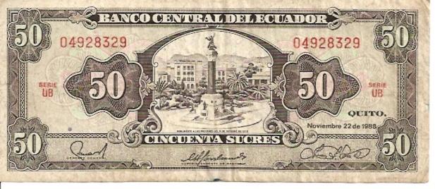 Banco Central Del Ecuador  50  Sucres  1961 Issue Dimensions: 200 X 100, Type: JPEG
