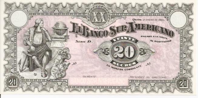 Banco Central Del Ecuador  20 Sucres  1961 Issue Dimensions: 200 X 100, Type: JPEG