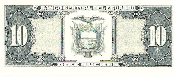 Banco Central Del Ecuador  10 Sucres  1961 Issue Dimensions: 200 X 100, Type: JPEG