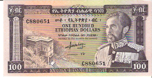 State Bank of Ethopia  100 Dollars  1961 ND Issue Dimensions: 200 X 100, Type: JPEG