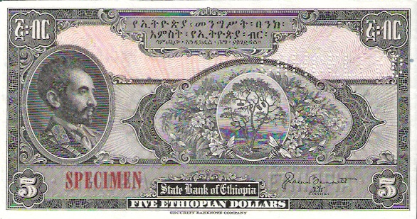 State Bank of Ethopia  5 Dollars  1961 ND Issue Dimensions: 200 X 100, Type: JPEG