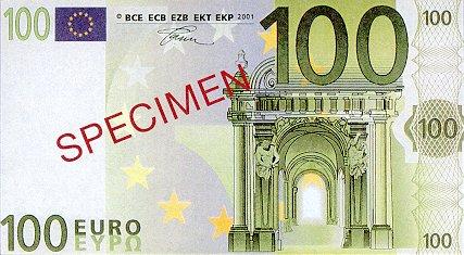 European Union  100 Euros  2001 Issue  Specimen Dimensions: 200 X 100, Type: JPEG