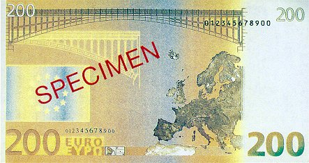European Union  200 Euros  2001 Issue  Specimen Dimensions: 200 X 100, Type: JPEG