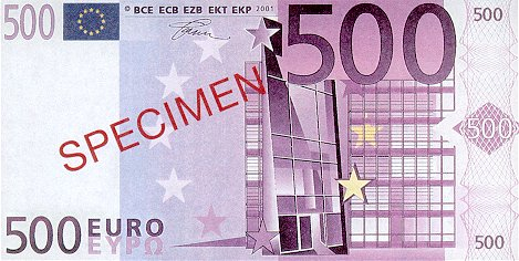 European Union  500 Euros  2001 Issue  Specimen Dimensions: 200 X 100, Type: JPEG