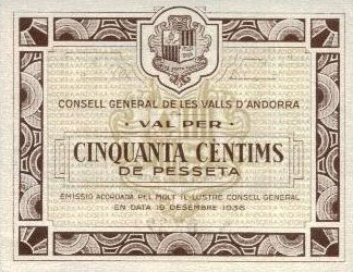 Counsel General of Andorra  50 Centimes  Date Issued: 12-10-1936 Dimensions: 200 X 100, Type: JPEG
