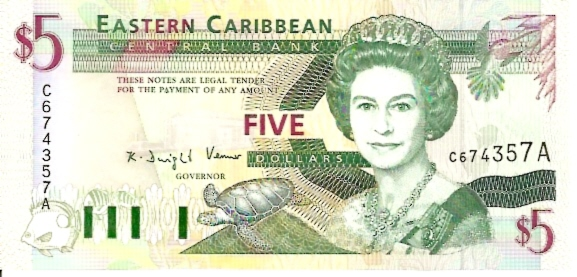 Issued by Central Bank  5 Dollars  No Issue Date  A - At the end of serial number means - Antigua Dimensions: 200 X 100, Type: JPEG