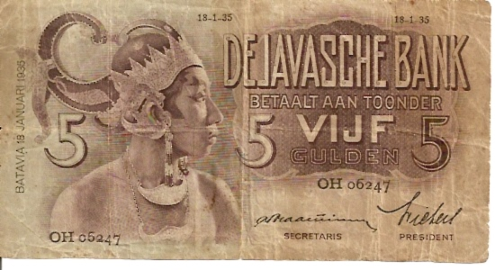 DJavasche Bank  5 Gulden  1936 Issue Dimensions: 200 X 100, Type: JPEG