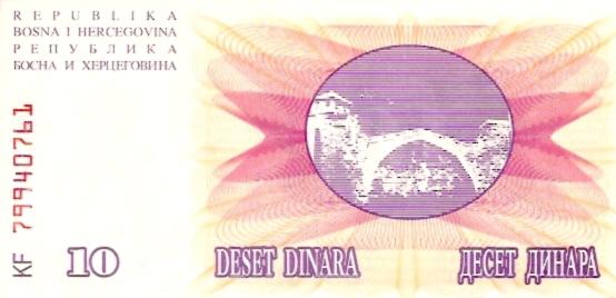 Narodna Banka Bosne Hercegovine  10 Dinara  1992-1993 Issue Dimensions: 200 X 100, Type: JPEG