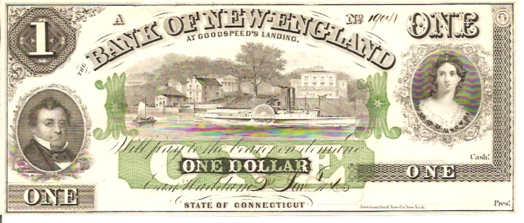 Bank fo New England   1 Dollar  1863 Issue  Not in circulation anymore  AKA - Broken Notes Dimensions: 200 X 100, Type: JPEG
