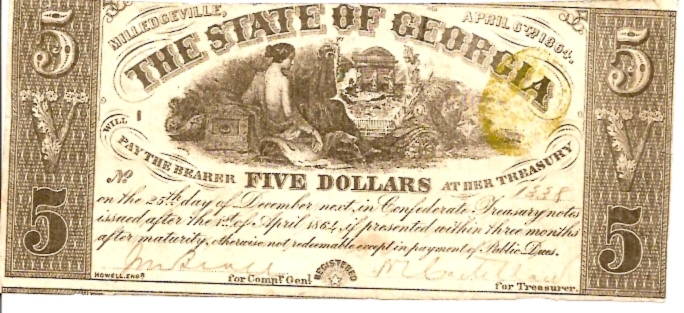 The State of Georgia  5 Dollar  1864 Issue  Not in circulation anymore  AKA - Broken Notes Dimensions: 200 X 100, Type: JPEG