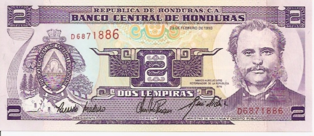 Banco Central DE Honduras  2 Lempiras  1992 Issue Dimensions: 200 X 100, Type: JPEG