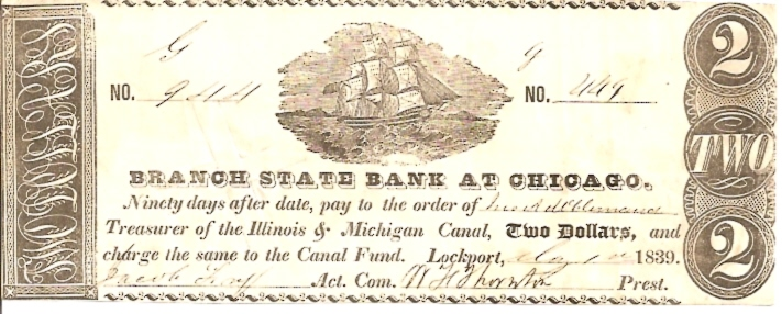 Branch State Bank at Chicago   2 Dollar  1839 Issue  Not in circulation anymore  AKA - Broken Notes Dimensions: 200 X 100, Type: JPEG