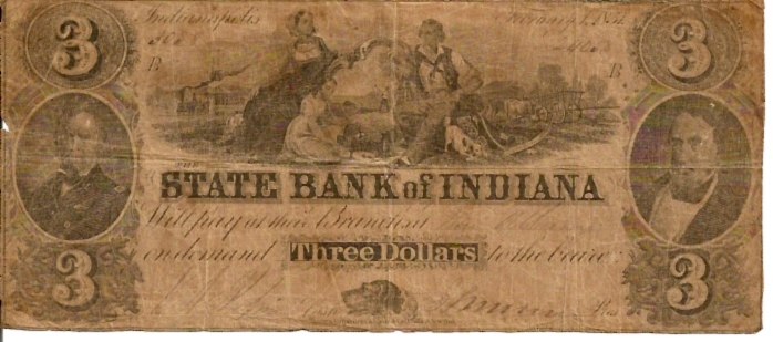 Bank fo Indiana   3 Dollar  1863 Issue  Not in circulation anymore  AKA - Broken Notes Dimensions: 200 X 100, Type: JPEG