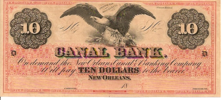 Canal Bank - Louisiana  10 Dollar  1863 Issue  Not in circulation anymore  AKA - Broken Notes Dimensions: 200 X 100, Type: JPEG