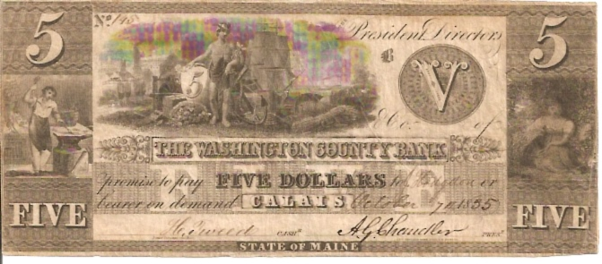 The Washington County Bank  5 Dollar  1855 Issue  Not in circulation anymore  AKA - Broken Notes Dimensions: 200 X 100, Type: JPEG
