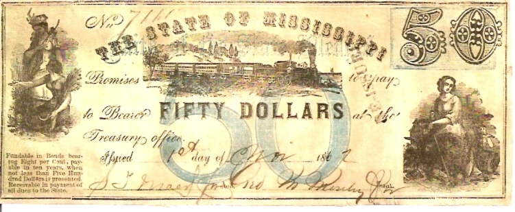 The State of Mississipi   50 Dollars  1862 Issue  Not in circulation anymore  AKA - Broken Notes Dimensions: 200 X 100, Type: JPEG