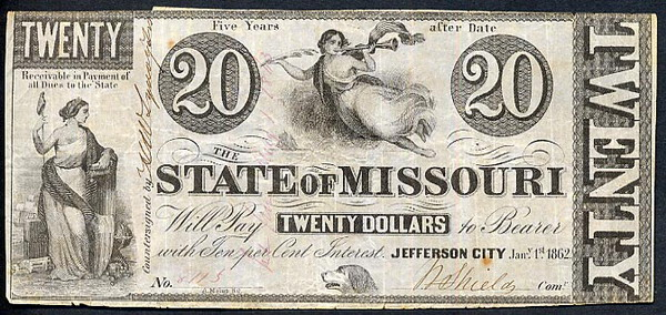 The State of Missouri   20 Dollars  1862 Issue  Not in circulation anymore  AKA - Broken Notes Dimensions: 200 X 100, Type: JPEG