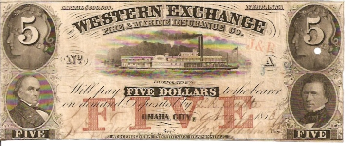 Western Exchange   5 Dollars  1856 Issue  Not in circulation anymore  AKA - Broken Notes Dimensions: 200 X 100, Type: JPEG