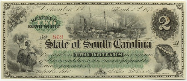 State of South Carolina   2 Dollars  1872 Issue  Not in circulation anymore  AKA - Broken Notes Dimensions: 200 X 100, Type: JPEG