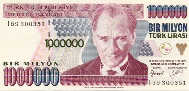 Central Bank of Turkey  1000000 Liras  1994 - 1997 ND Issue Dimensions: 200 X 100, Type: JPEG