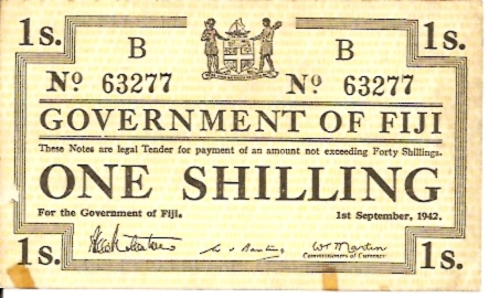 Government of Fiji  1 Schilling  September 1st 1942 Issue Dimensions: 200 X 100, Type: JPEG