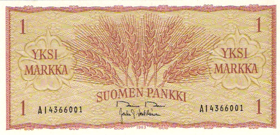 Suomen Pankki - Finlands Bank  1 Mark  1963 Dated Issue Dimensions: 200 X 100, Type: JPEG
