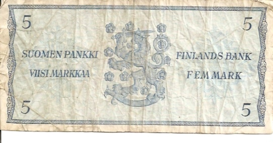 Suomen Pankki - Finlands Bank  5 Mark  1963 Dated Issue Dimensions: 200 X 100, Type: JPEG