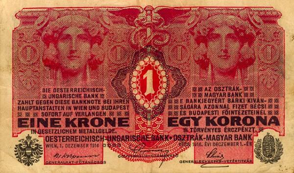 Az Osztrak Magyar Bank  1 Korona  1916 Issue Dimensions: 200 X 100, Type: JPEG