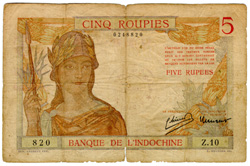 Banque De L'indochina  5 Rupee  No Date Issue Dimensions: 200 X 100, Type: JPEG