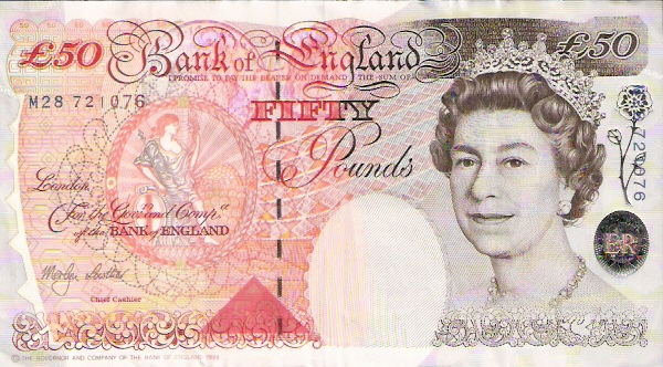 Bank of England  50 Pound  1993-1996 ND Issue Dimensions: 200 X 100, Type: JPEG