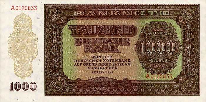 Deutschen Notenbank  1000 Marks  1948 Issue Dimensions: 200 X 100, Type: JPEG