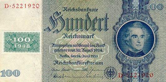 Deutschen Notenbank  100 Marks  1948 Issue Dimensions: 200 X 100, Type: JPEG