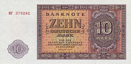 Deutschen Notenbank  10 Marks  1955 Issue Dimensions: 200 X 100, Type: JPEG