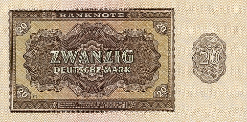 Deutschen Notenbank  20 Marks  1948 Issue Dimensions: 200 X 100, Type: JPEG