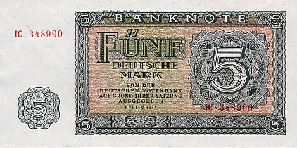 Deutschen Notenbank  5 Marks  1955 Issue Dimensions: 200 X 100, Type: JPEG