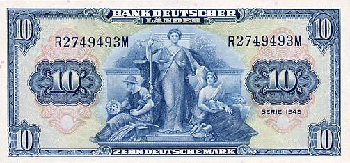 Bank Deutscher Lander  10 Marks  1949 Issue Dimensions: 200 X 100, Type: JPEG