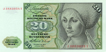 Bank Deutscher Lander  20 Marks   1960 Issue Dimensions: 200 X 100, Type: JPEG