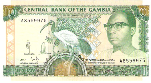 Central Bank of Gambia  10 Dalasis  1987 ND Issue Dimensions: 200 X 100, Type: JPEG
