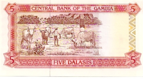 Central Bank of Gambia  5 Dalasis  1987 ND Issue Dimensions: 200 X 100, Type: JPEG