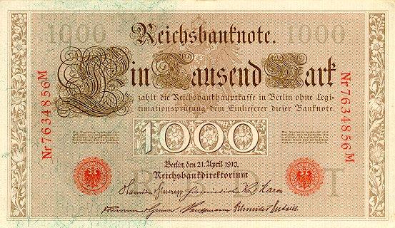 Reichsschuldenverwaltung  1000 Marks  1910 Issue Dimensions: 200 X 100, Type: JPEG