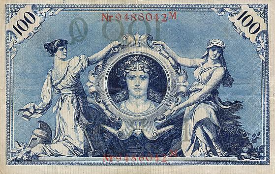 Reichsschuldenverwaltung  100 Marks  1908 Issue Dimensions: 200 X 100, Type: JPEG